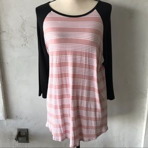 LuLaRoe baseball style long sleeve t-shirt